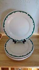 4 Vintage Buffalo China HEAVY Restaurant Ware Green Scroll Crest Bread Plates