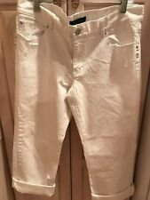 WHITE HOUSE BLACK MARKET NOIR WHITE DENIM CUFF ANKLE JEANS SIZE 12 NEW