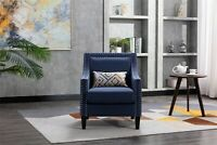 Morden Accent Armchair Living Room Sofa Nailheads And Solid Wood Legs Navy Linen