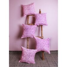 Pink Appliqe Hand Cut Work Pillows Cases Home Sofa Lot of 5 Pcs Cushion Cover