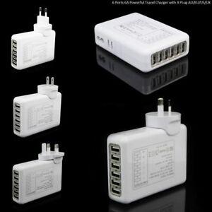 6A Powerful 6 & 4 Port USB Desktop Travel Charger Intelligent Charging Station