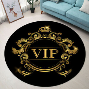 Black Background Gold Design VIP Letters Area Rugs Living Room Round Floor Mat