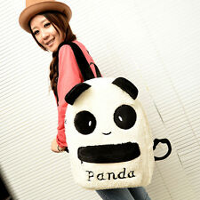 Cartoon Plush Panda Head Letter Backpack Warm Casual School Travel Bags Rucksack