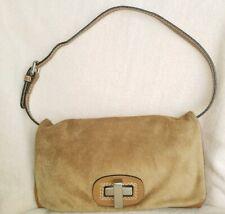 Abro Tan Suede Leather Handbag Purse