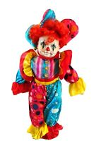 "Vintage Clown Jester Doll- 18"" w. Metal Stand-Bisque Head/Hands/Shoes-Red Hair"