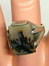 925 Ring Size 9 Mossy Agate Sterling Silver
