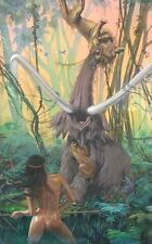 ORIGINAL NUDE CAVEWOMAN PINUP ILLUSTRATION COVER ART PAINTING DIAN PELLUCIDAR