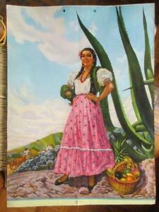 1950's BEAUTIFUL SENORITA PIN-UP BUENA PENCA  AMAZING ART MEXICO CALENDAR POSTER