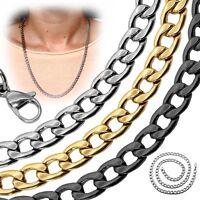 Edelstahl Panzerkette Königskette Silbern Golden Schwarz Halskette Herrenkette