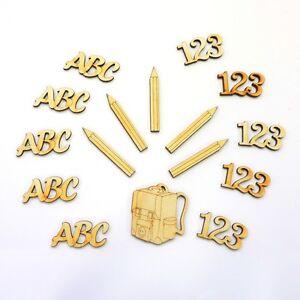 Einschulung Tischdeko 16Teile 123, ABC, Schulranzen, Stifte aus Holz
