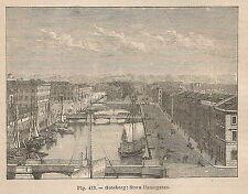 A2257 Goteborg - Stora Hamngatan - Xilografia - Stampa Antica 1895 - Engraving