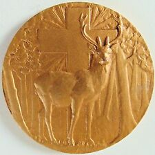 ANT.FRENCH ST. HUBERT MEDAL STAG HOLY CROSS by CHARLES