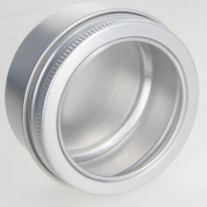 60/100ml Screw Top Round Aluminum Can Storage Jars Containers Tin Clear Top Lid