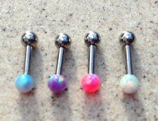 Opal Fire Ball Barbell Labret Studs Lip Monroe Ear  Tragus Bar 6mm- 4 Colours BN
