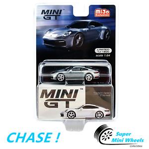 CHASE ! Mini GT 1:64 Porsche 911 (992) Carrera S GT (Silver Metallic) #210