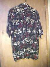 Puritan Short Sleeve Button Front Hawaiian Designed Shirt-Size L