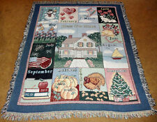 Bless Our Home ~ Twelve Month Holiday Collage Tapestry Afghan Throw