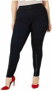 HUE Extreme Zip Hem Denim Skimmer Leggings Midnight Rinse Size Small $46 - NWT