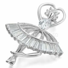 Womens Silver Tone Charm Metal Cubic Zirconia Ballet Girl Suit Collar Pin Brooch