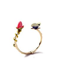Eiliyahs Handmade Open Enamel Flower and Butterfly Ring - 3D Design