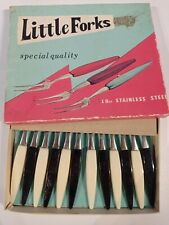 Little Forks 12 Vintage Cocktail Forks 1960s Kitchen Cutlery Stainless Steel
