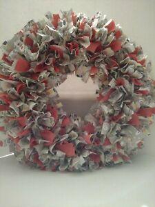 """HANDMADE Shabby Chic  Gray,  Orange and Yellow Rag Wreath   18"""" NEW"""
