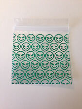 100 Happy Green Alien 2x2 Small Plastic Baggies 2020 Tiny Ziplock Poly Bags