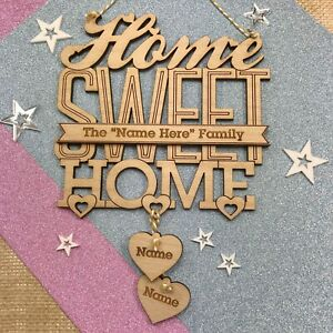 Personalised Wooden Home Sweet Home Hanging Sign Family House Warming Gift