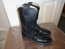 JUSTIN BLACK LEATHER WESTERN RIDING BOOTS 6B GREAT COND!!
