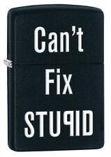 Zippo Black Matte Can't Fix Stupid Windproof Lighter 28664 New
