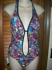 Ecko Red~NWT's  sz S Black tatoo print all over Monokini~swim suit  a $68.00R