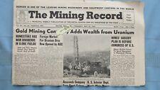 New listing 1958 Mining Record-Atomic Ores & Gold Mining-Colorado Plateau Uranium Mines