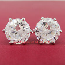 Real Solid 9k White Gold Stud Fine Earring Engagement Wedding Simulated Diamond