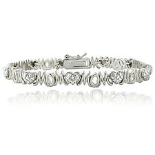 Genuine Diamond Accent Heart and MOM Tennis Bracelet in Silver Tone