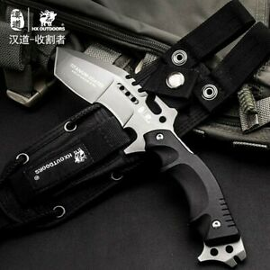Tanto Knife Serrated Hunting Combat Tactical High Carbon Steel G10 Handle
