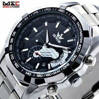 Luxury Mens Skeleton Steampunk Automatic Mechanical Wrist Watch Steel Band Gift