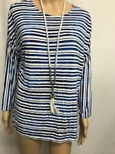 SPORTSCRAFT SIZE M BLUE AND WHITE STRIPED LONG SLEEVE STRETCH TOP