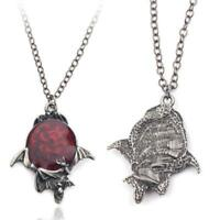 Red Crystal Vampire Gothic Bat Pendant Halloween Necklace Vintage Jewelry G Top