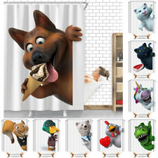 Peeping Animals Waterproof Polyester Bathroom Shower Curtain With Free 12 Hooks