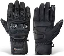 Ranger Motorbike Gloves Leather Vented Carbon Knuckle Shell Protection