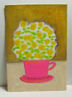 ACEO Original Miniature Painting, DELICATE YELLOW FLOWERS IN CUP, 3.5x2.5 in.