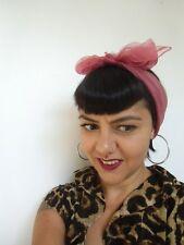 Foulard cheveux fin tulle mousseline transparente carré vieux rose poudré pinup