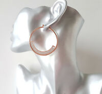 Beautiful 5cm rose gold tone & sparkly silver glitter  round hoop earrings