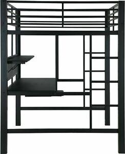 NEW Modern Adult & Teen Loft Bunk Bed Full Size - Black Metal Worksta