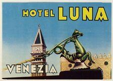 Hotel Luna VENEZIA VENICE VENEDIG ITALY * Old Luggage Label Kofferaufkleber