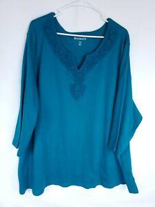 Roamans Womens Plus Size 4X Teal Lace Neckline Stretch Top 1/2 Sleeve Blouse