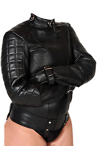 Women Real Leather StraitJacket Women Quilted Panels / Padded StraitJacket