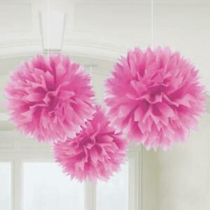 Pink Fluffy Paper Hanging Decorations x 3