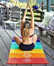 Single Rainbow Chakra Tapestry Towel Mandala Boho Stripes Travel Yoga Mat out