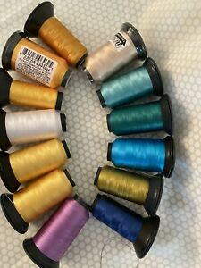 FLORIANI Embroidery Thread Lot of 14 polyester 1000m spools Blue-Yellow-Green